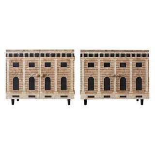 Pair of Fornasetti Architettura Decorated Eggshell Lacquer Cabinets For Sale