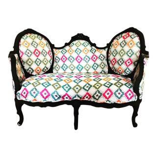1960s Louis XV Ikat Print Loveseat For Sale