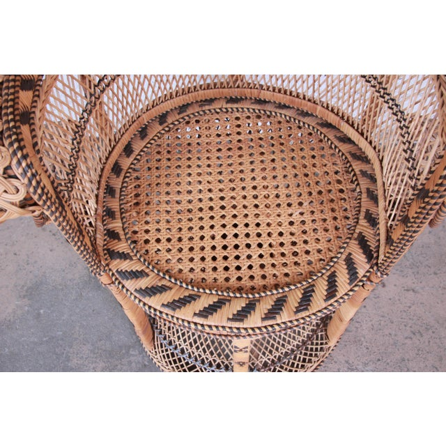 "1970s Bohemian Wicker ""Emanuelle"" Peacock Chair For Sale In South Bend - Image 6 of 13"