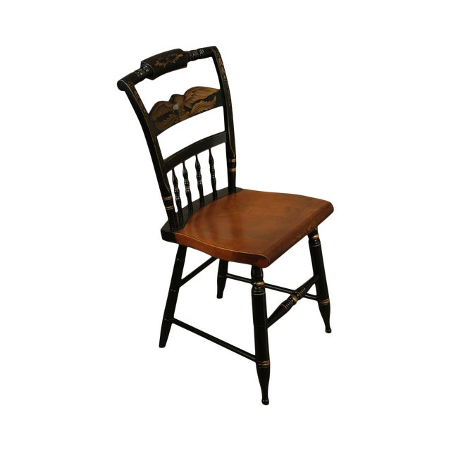Hitchcock Eagle Painted Black & Maple Side Chair For Sale