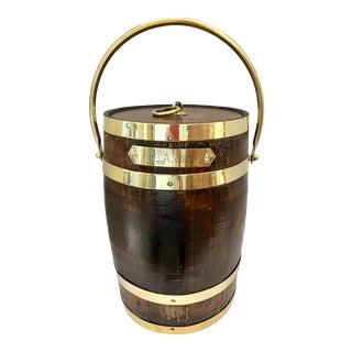 Antique Brass Banded & Wood Lidded Ice Cooler With Initials For Sale