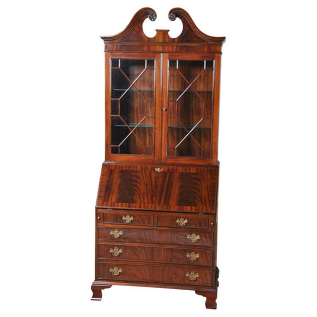 Brown Traditional Mahogany Secretary Desk For Sale - Image 8 of 8