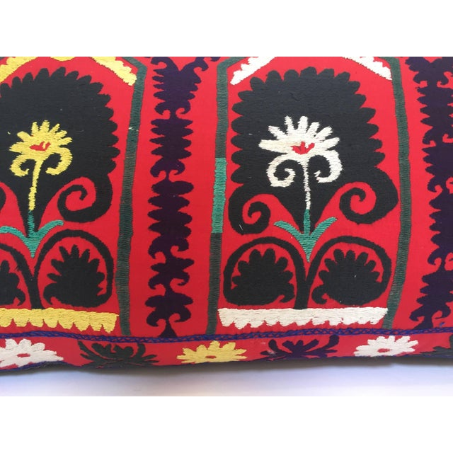 Vintage Large Colorful Suzani Embroidery Decorative Throw Pillow From Uzbekistan For Sale - Image 12 of 13