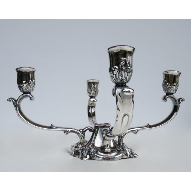 C1960's-70's Vintage Georgian-Style Gorham Silverplate Candelabra, 5-Candle Holder Centerpiece For Sale In West Palm - Image 6 of 13