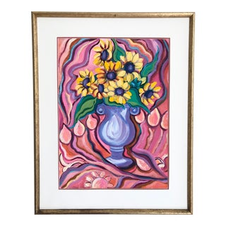 Large Vintage Original Pink and Yellow Psychedelic Sunflower Abstract Still Life For Sale
