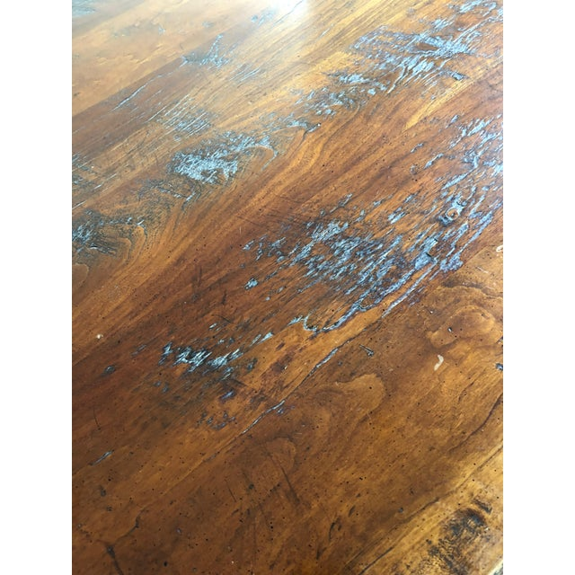 Wright Table Company Classic Distressed Hard Wood Farm Table For Sale - Image 4 of 13