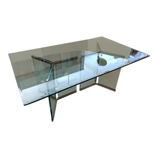 Pace Collection, Double Triangular Glass and Chrome Based Dining Table For Sale