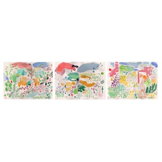 "English Garden One, Set of Three 9x12"" Giclee Prints For Sale"
