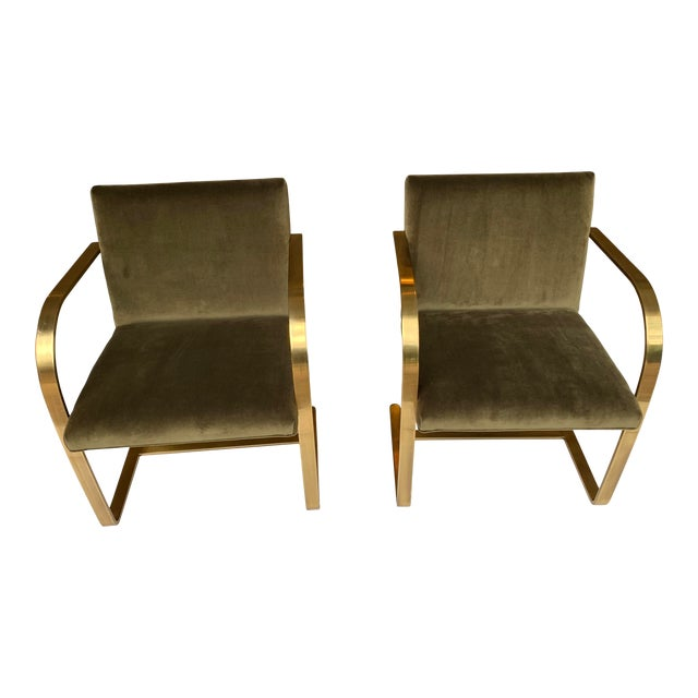 1970s Vintage Brass Brno Chairs- a Pair For Sale