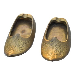 Moroccan Brass Babouche Ashtrays- S/2 For Sale
