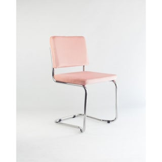 New Set of Six Stackable Dining Chairs in Sweet Pink Velvet & Chrome Steel Preview