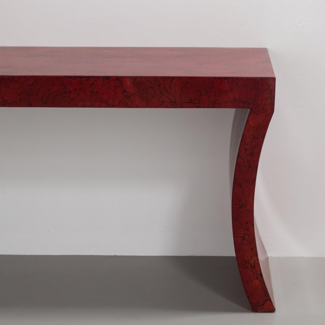 Mid-Century Modern An Impressive Red Crackleware Finished Console and Mirror 1980s For Sale - Image 3 of 9