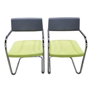 Vintage Knoll Chrome Sled Base Chairs- A Pair For Sale