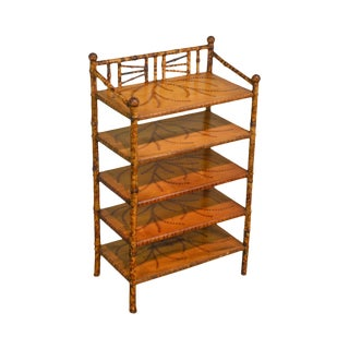 Antique 19th Century Victorian Era Burnt Bamboo 5 Tier Etagere Bookcase