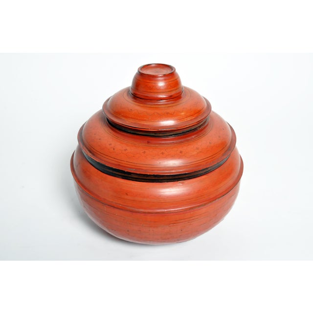 Asian Burmese Red Lacquer Offering Urn For Sale - Image 3 of 13