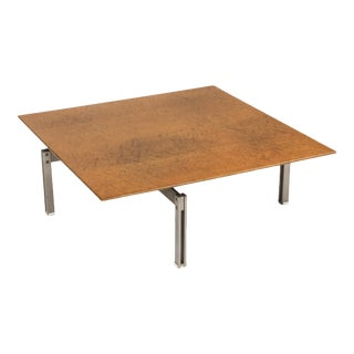 1970s Square Burl Wood Coffee Table With Steel Base For Sale