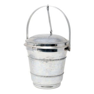 Vintage Barware MCM Mid Century Aluminum Ice Bucket With Articulating Lid For Sale