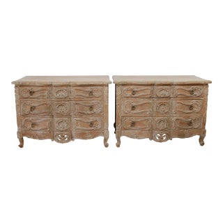 Vintage Pair of Pickled Carved Wood Nightstands Chest of Drawers For Sale