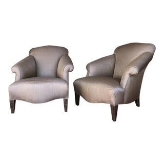 Silk Damask Upholstered Club Chairs - A Pair