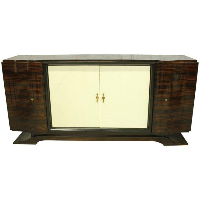 Beautiful masterpiece French Art Deco Macassar ebony, diamond parchment center doors, sideboard or bar designed by Maurice...