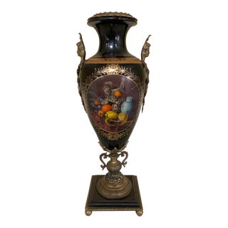 Paint Decorated Porcelain & Bronze Lidded Urn For Sale