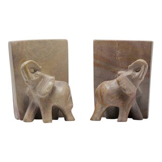 Marble Hand Carved Elephant Sculpture Bookends - a Pair For Sale