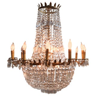 French Early 20th Century Empire Crystal and Bronze Chandelier For Sale