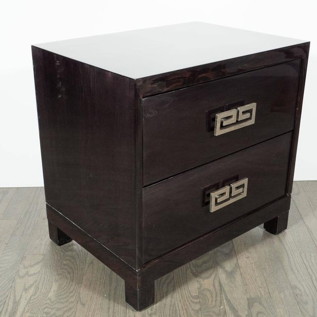 Metal Pair of Mid-Century Greek-Key Nightstands or End Tables with Greek Key Pulls For Sale - Image 7 of 9