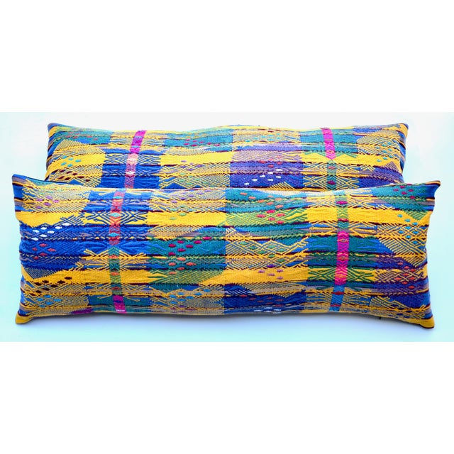 "Hand Embroidered Guatemalan Long Pillow Pair 38"" X 13"" For Sale In Los Angeles - Image 6 of 6"