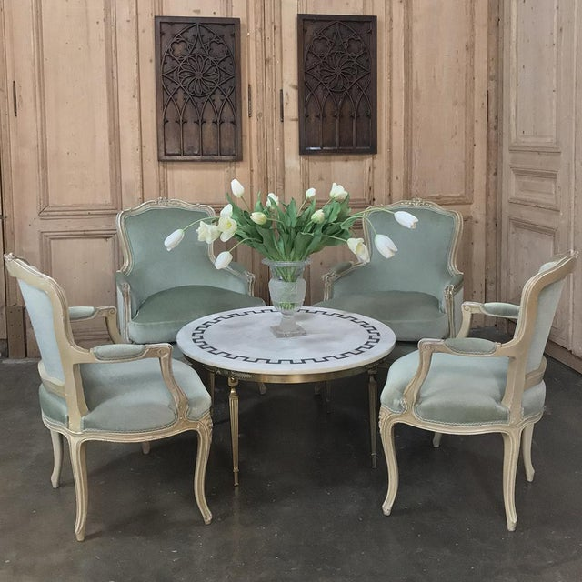 Pair 19th Century French Louis XV Bergeres ~ Armchairs are a study in elegance and grace, featuring wraparound seatbacks...