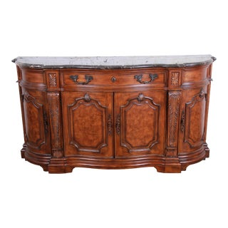 Drexel Heritage French Carved Burled Walnut Marble Top Sideboard Credenza For Sale
