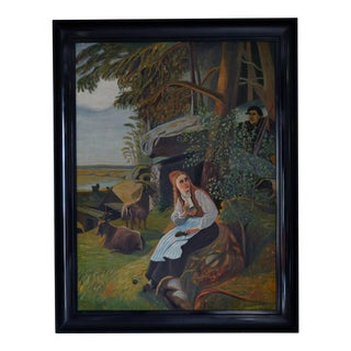 Antique Swedish Fairy Tale Pastoral Painting For Sale