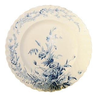 English Scalloped Blue and White Dinner Plate