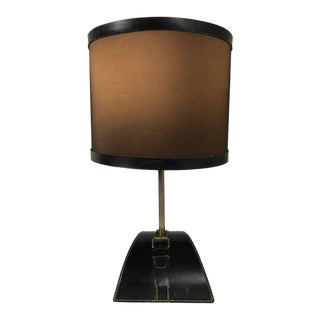 Jacques Adnet Stitched Leather Table Lamp For Sale