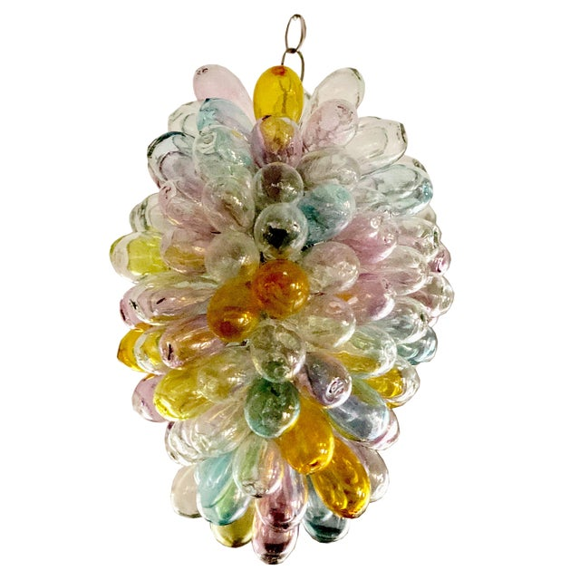 Soft Candy Colored Balloon Shape Light Fixture of Recycled Handblown Glass For Sale
