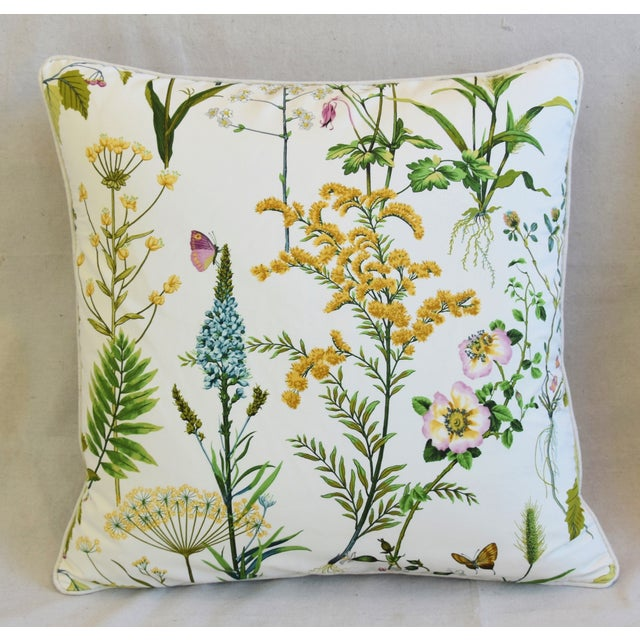 "Abstract Wildflower Botanical Cotton & Linen Feather/Down Pillows 24"" Square - Pair For Sale - Image 3 of 13"