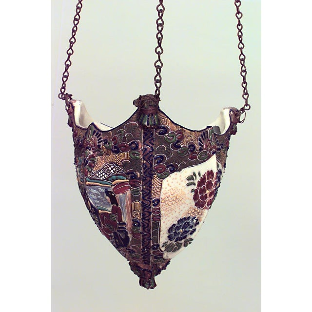 Asian Japanese style (19th Cent) Satsuma porcelain hanging fernery/cachepot with triangular shape