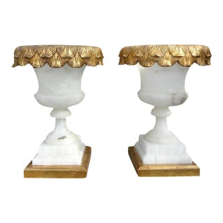 1920's Italian Alabaster Urn Form Lamps-A Pair For Sale