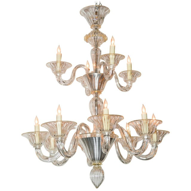 Beautiful Venetian Blown Glass Chandelier For Sale - Image 9 of 9