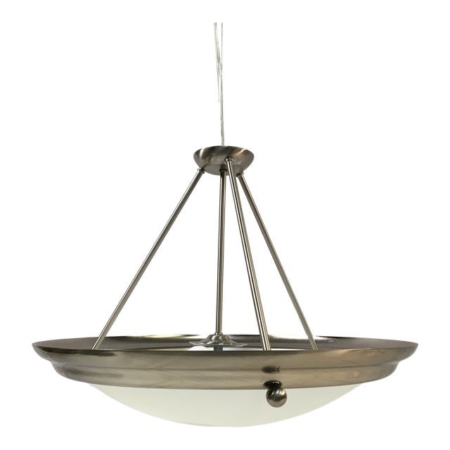 Sea Gull Brushed Steel Central Pendant Light For Sale