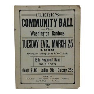 "1919 Vintage ""Clerk's Community Ball"" Washington Gardens Sign For Sale"