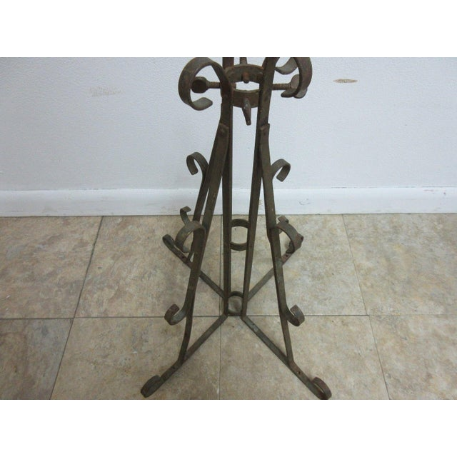 Metal Antique Wrought Iron Scroll Flag Pole Music Stand Ceremonial For Sale - Image 7 of 11