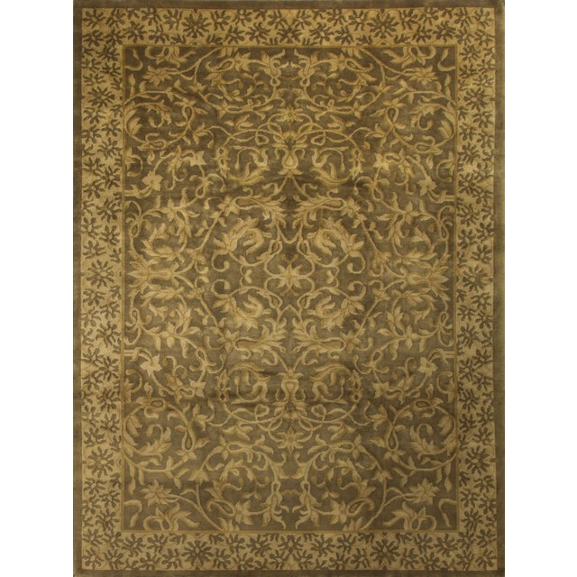 Hand-Knotted Gold Wool Rug - 9′ × 11′10″ - Image 1 of 4