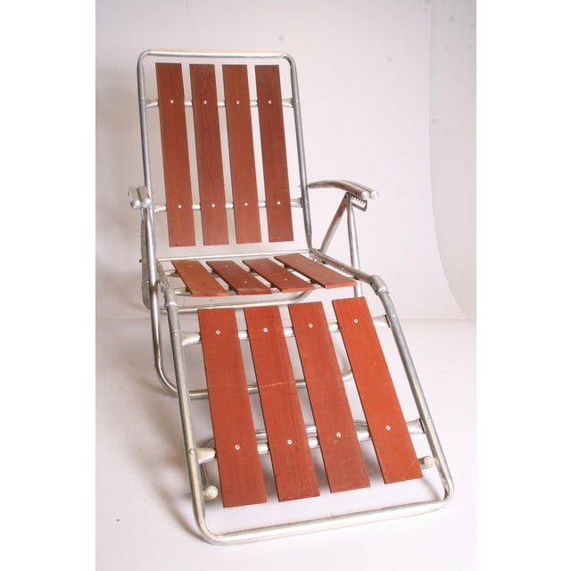 Adirondack Mid Century Redwood Aluminum Folding Chaise Lounge Chair For Sale - Image 3 of 11