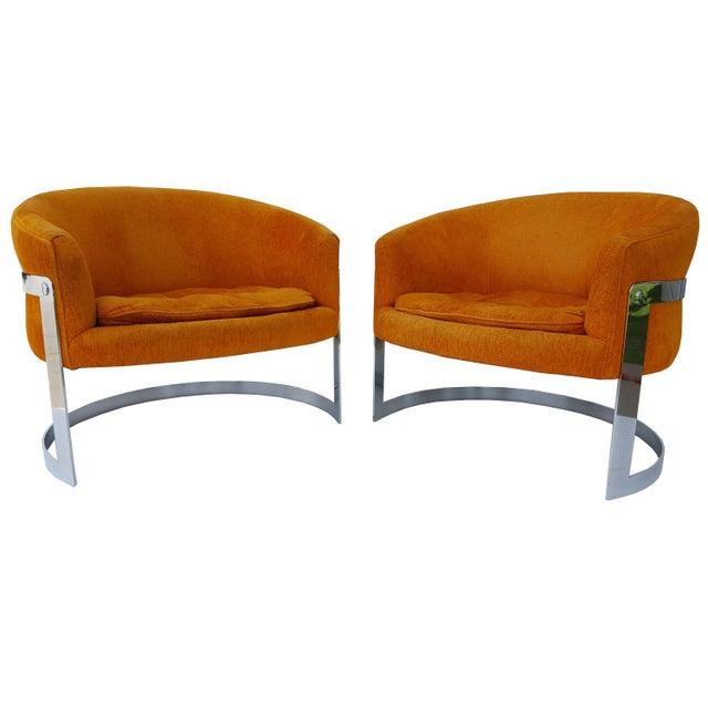 Orange 1960s Vintage Milo Baughman Barrel Back Chairs - A Pair For Sale - Image 8 of 8