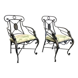 Aico Wrought Iron Accent Dining Arm Chairs W Goose Neck Head Detail - Pair 2 For Sale