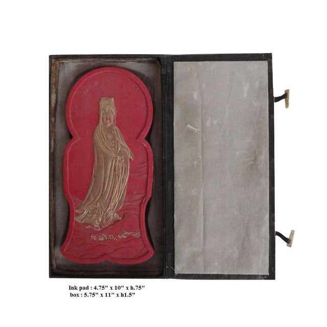 Calligraphic Red Ink Stone Kwan Yin Sculpture For Sale - Image 5 of 5