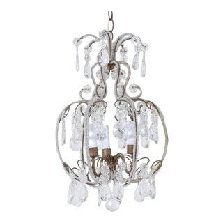 1940s Italian Crystal Beaded Chandelier For Sale