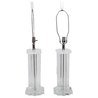 Lucite Rectangular Column Table Lamps From Clearlite by Bauer - a Pair For Sale