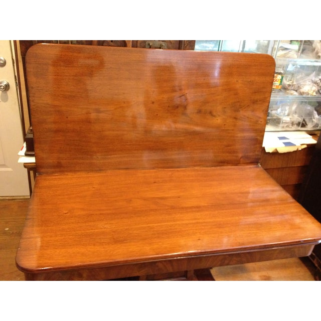 Empire Burl Mahogany Swivel Top Game Table For Sale - Image 4 of 13